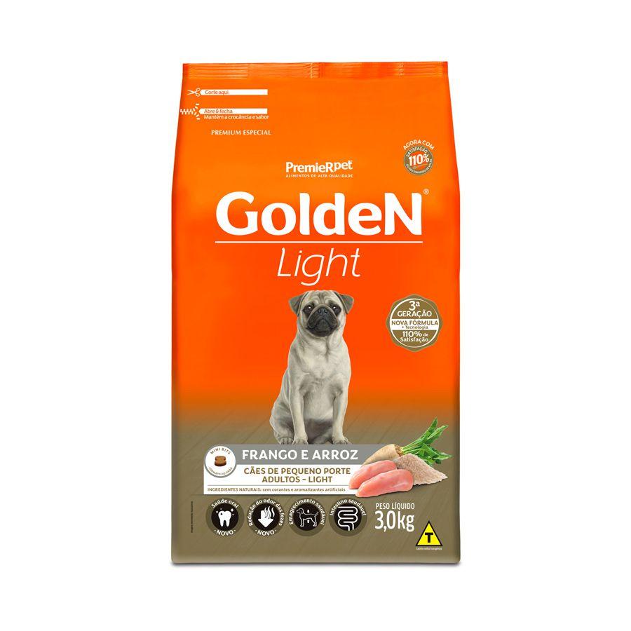Ração Golden Fórmula Light para Cães Adultos de Porte Pequeno Sabor Frango e Arroz 3 Kg