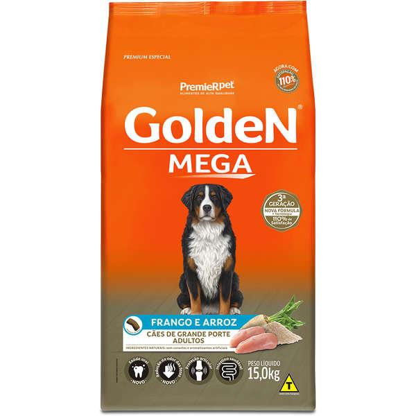 Ração Golden Mega para Cães Adultos Sabor Frango e Arroz 15 Kg