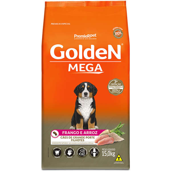 Ração Golden Mega para Cães Filhotes Sabor Frango e Arroz 15 Kg