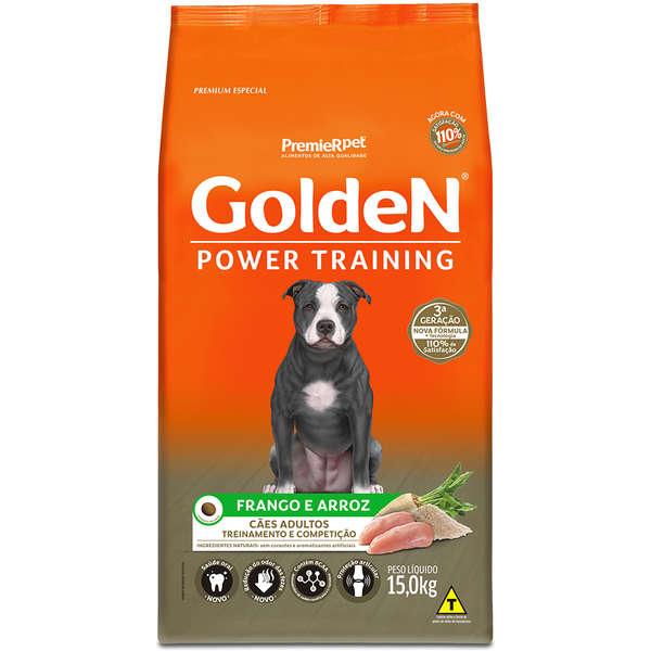 Ração Golden Power Training para Cães Adultos Sabor Frango e Arroz 15 Kg