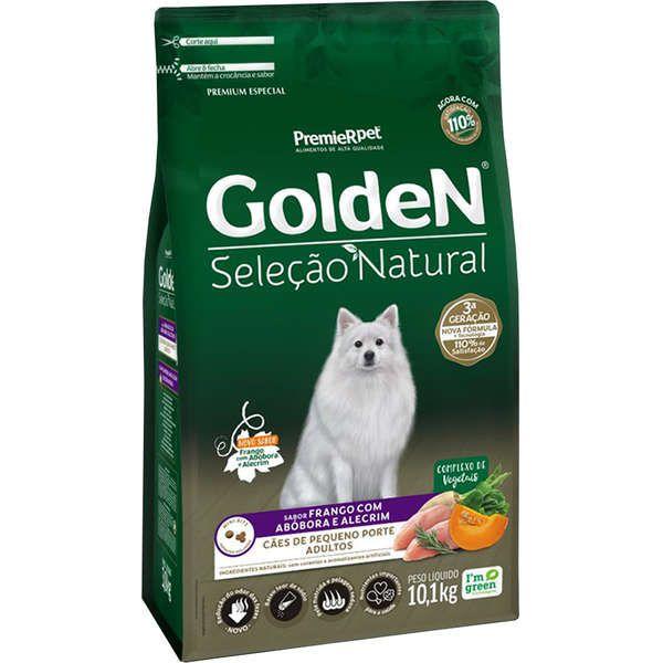 Ração Golden Seleção Natural para Cães Adultos de Porte Pequeno Sabor Frango com Abóbora e Alecrim 10,1 Kg