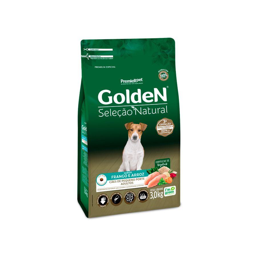 Ração Golden Seleção Natural para Cães Adultos de Pequeno Porte Sabor Frango e Arroz 3 Kg