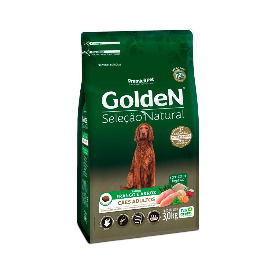 Ração Golden Seleção Natural para Cães Adultos Sabor Frango e Arroz