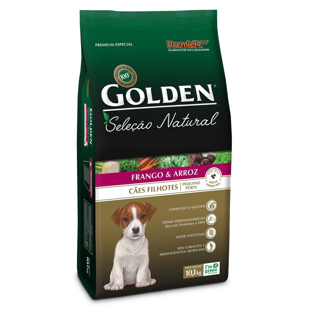 Ração Golden Seleção Natural para Cães Filhotes de Pequeno Porte Sabor Frango e Arroz 10,1 Kg
