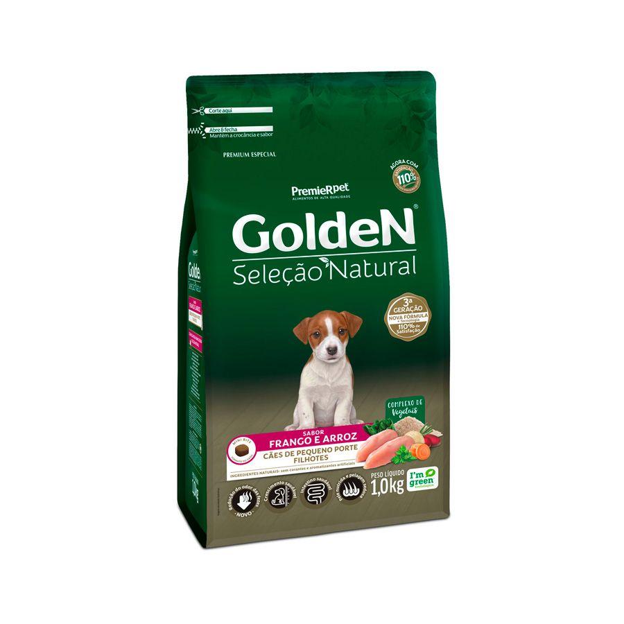 Ração Golden Seleção Natural para Cães Filhotes de Pequeno Porte Sabor Frango e Arroz