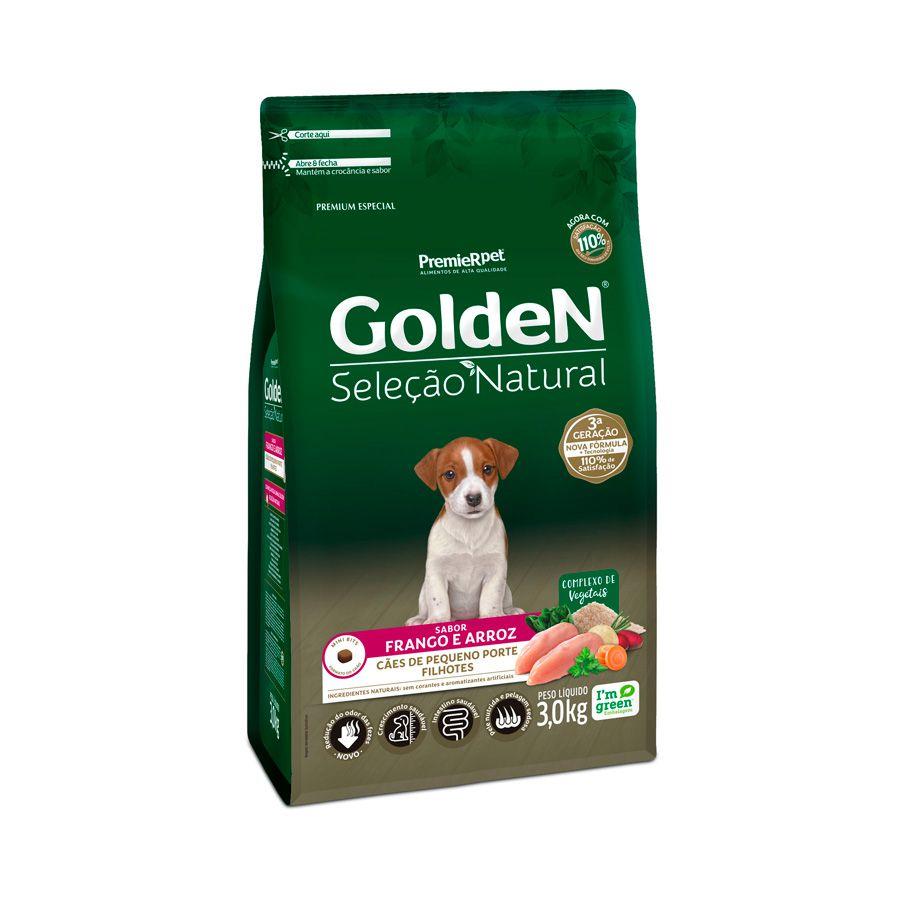 Ração Golden Seleção Natural para Cães Filhotes de Pequeno Porte Sabor Frango e Arroz 3 Kg