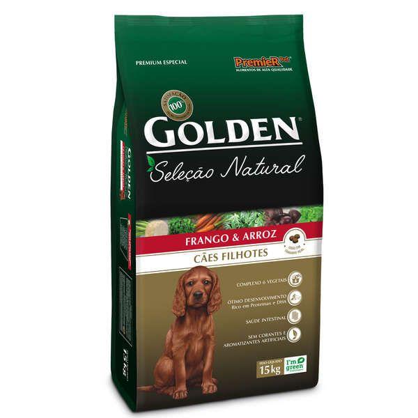 Ração Golden Seleção Natural para Cães Filhotes Sabor Frango e Arroz 15 Kg