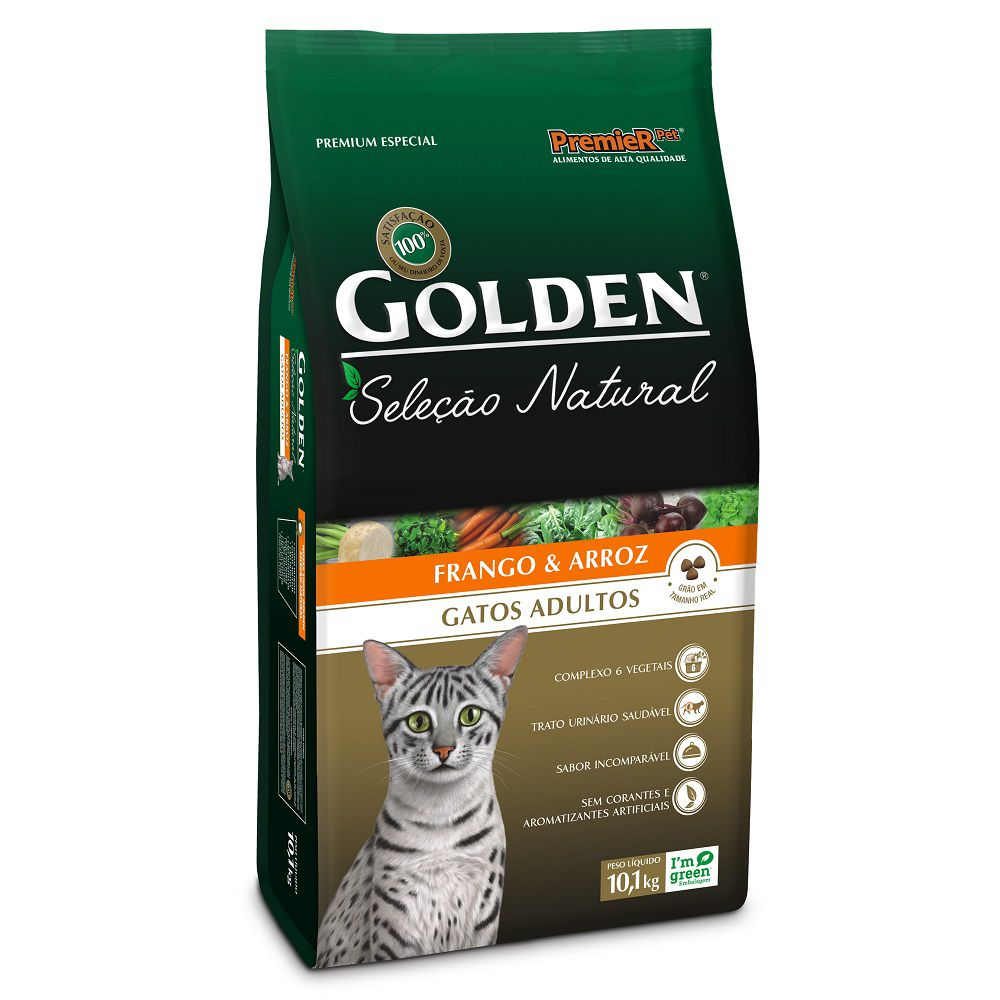 Ração Golden Seleção Natural para Gatos Adultos Sabor Frango e Arroz 10,1 Kg