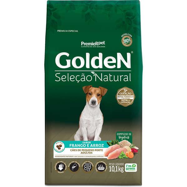 Ração Golden Seleção Natural para Cães Adultos de Pequeno Porte Sabor Frango e Arroz 10,1 Kg