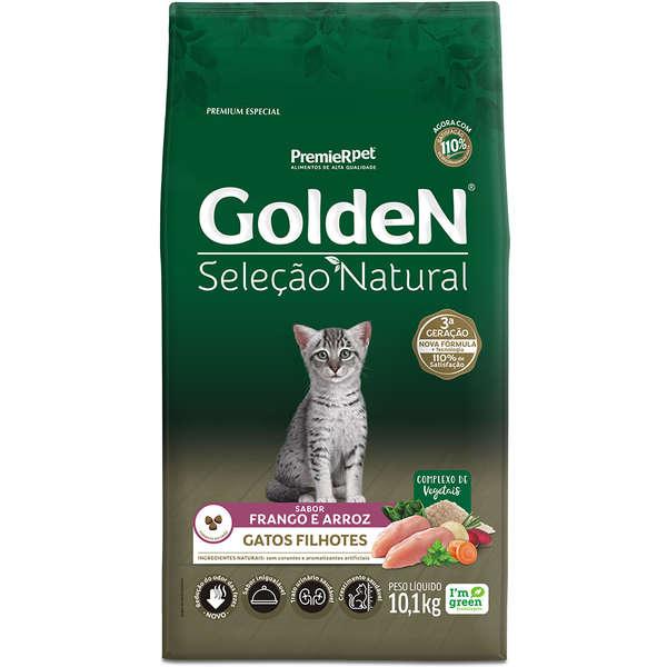Ração Golden Seleção Natural para Gatos Filhotes Sabor Frango e Arroz 10,1 Kg