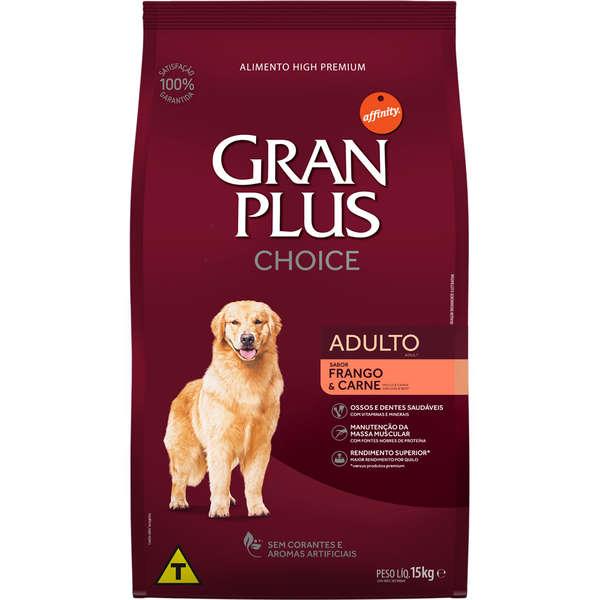 Ração GranPlus Choice para Cães Adultos Sabor Carne e Frango 15 Kg