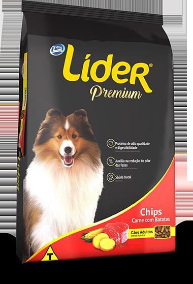 Ração Líder Premium Chips Para Cães Adultos 15 Kg