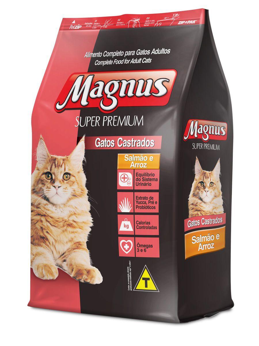 Ração Magnus Cat Super Premium Gatos Castrados Sabor Salmão E Arroz 10,1kg