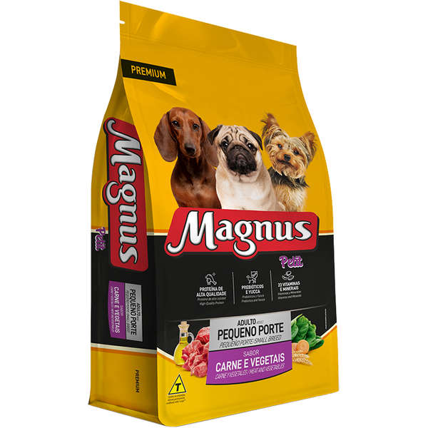 Ração Magnus Petit Cães Adultos De Pequeno Porte Sabor Carne Com Vegetais 25kg