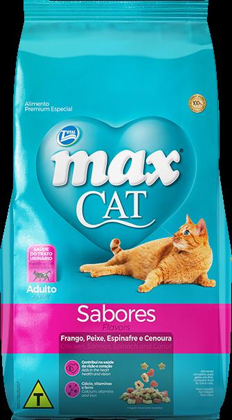 Ração Max Cat Sabores Adultos Sabor Frango, Peixe, Espinafre E Cenoura 20 Kg