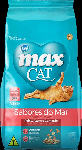 RAÇÃO MAX CAT SABORES DO MAR ADULTOS SABOR PEIXE, ATUM E CAMARÃO 20 KG
