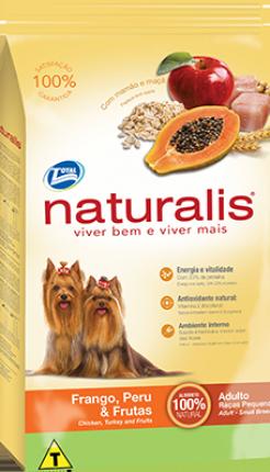Ração Naturalis para Cães Adultos de Raças Pequenas Sabor Frango, Peru & Frutas 15 Kg