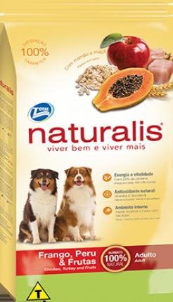 Ração Naturalis para Cães Adultos de Raças Médias e Grandes Sabor Frango, Peru & Frutas 15 Kg