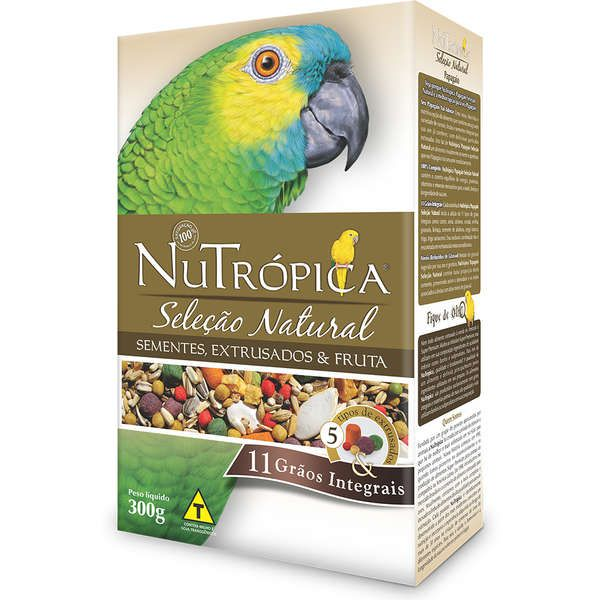 Ração Nutrópica para Papagaio Seleção Natural Sementes, Extrusados e Fruta 300g