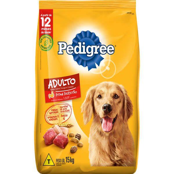 Ração Pedigree para Cães Adultos Sabor Carne, Frango e Cereais 15 Kg