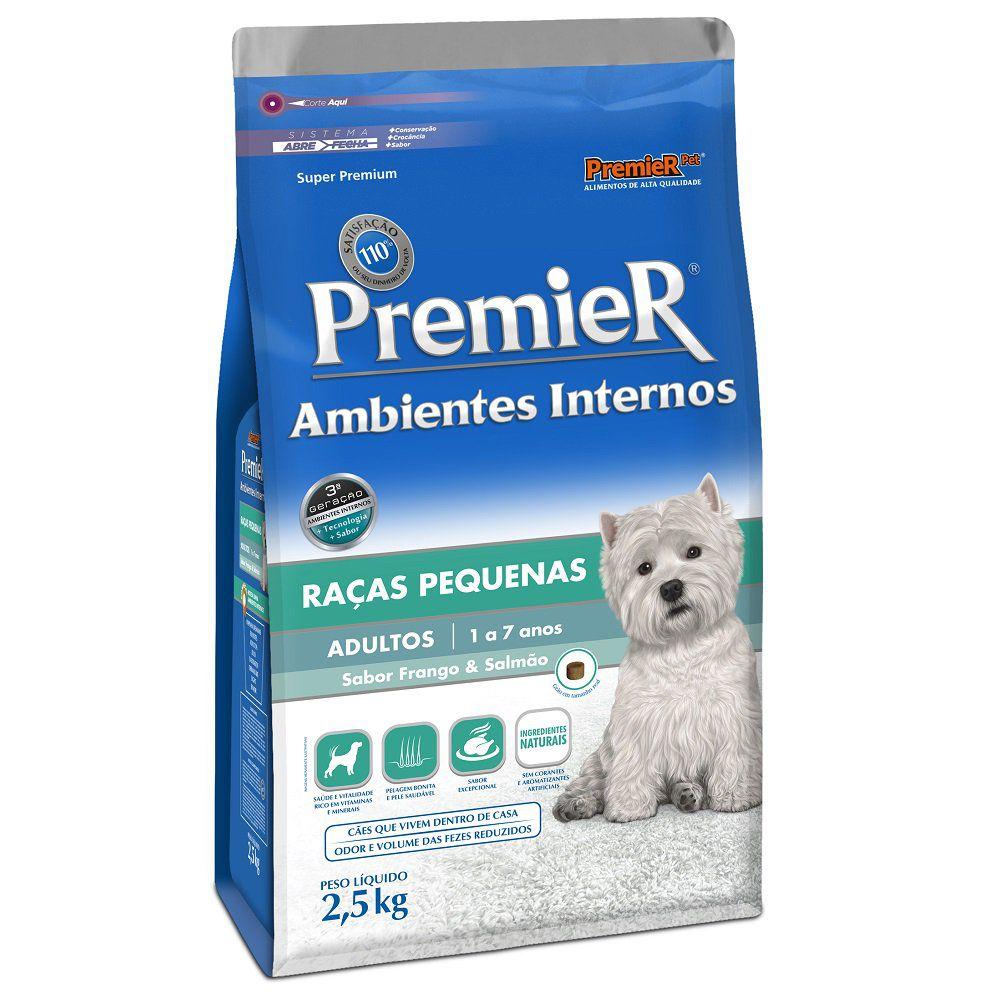 Ração Premier Ambientes Internos para Cães Adultos de Raças Pequenas Sabor Frango & Salmão 2,5 Kg