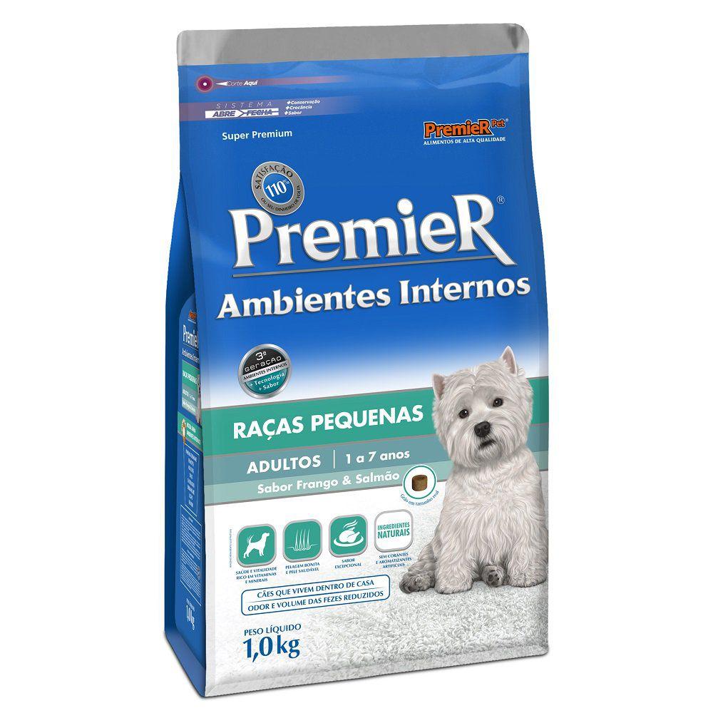 Ração Premier Ambientes Internos para Cães Adultos de Raças Pequenas Sabor Frango & Salmão