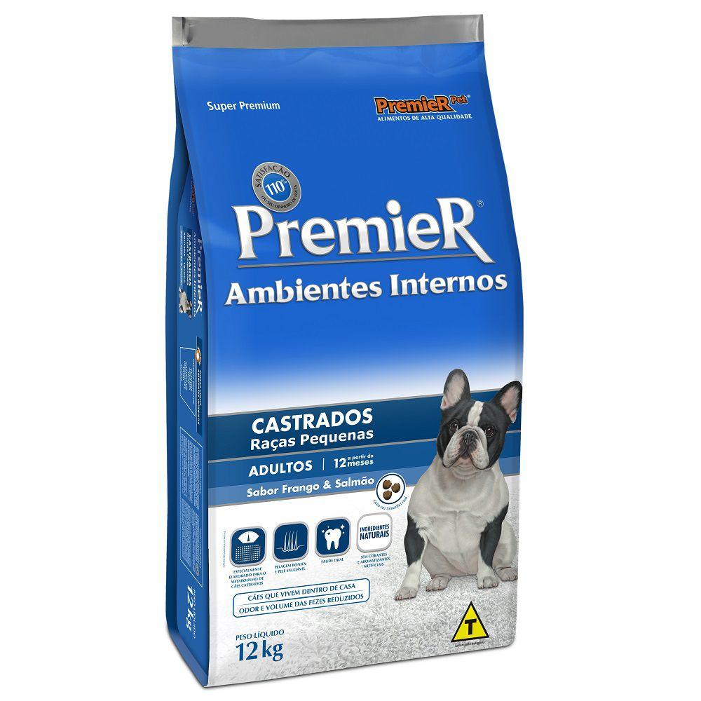 Ração Premier Ambientes Internos Castrados para Cães Adultos de Raças Pequenas Sabor Frango & Salmão 12 Kg