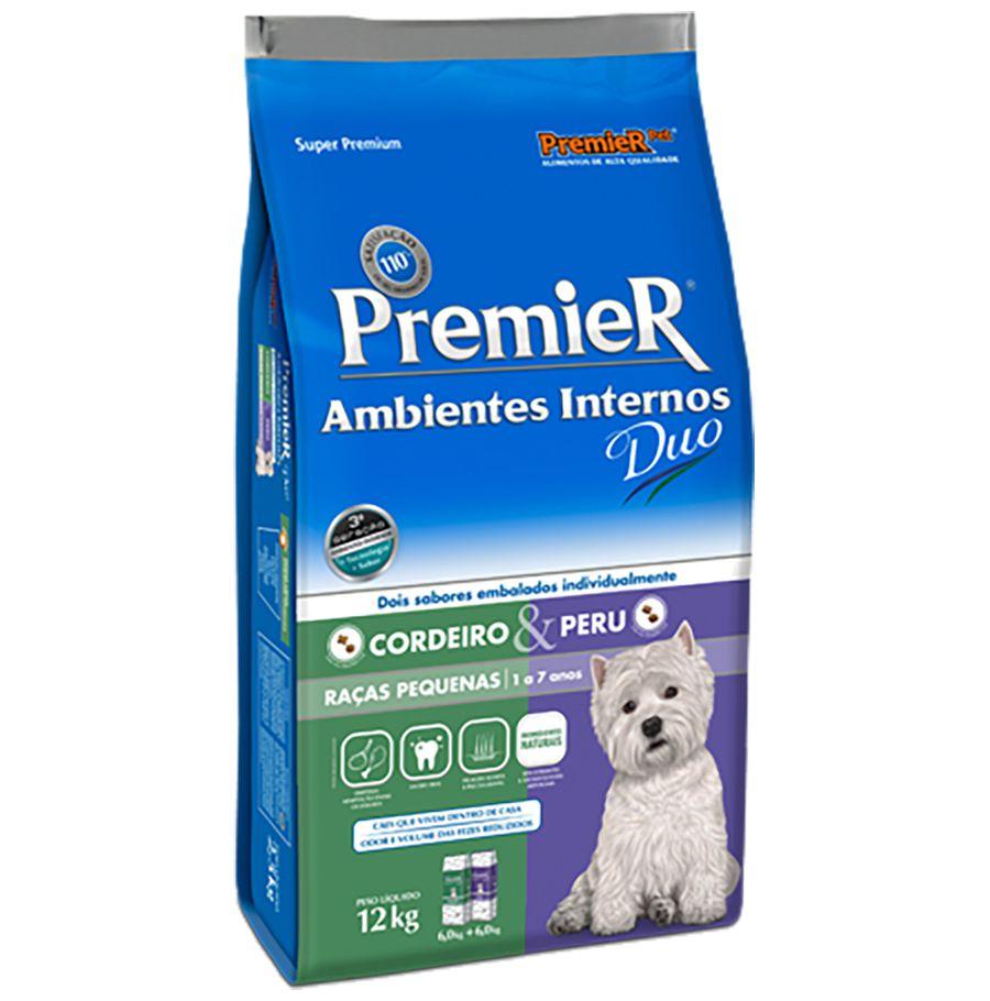 Ração Premier Ambientes Internos Duo para Cães Adultos de Raças Pequenas Sabores Cordeiro & Peru 12 Kg