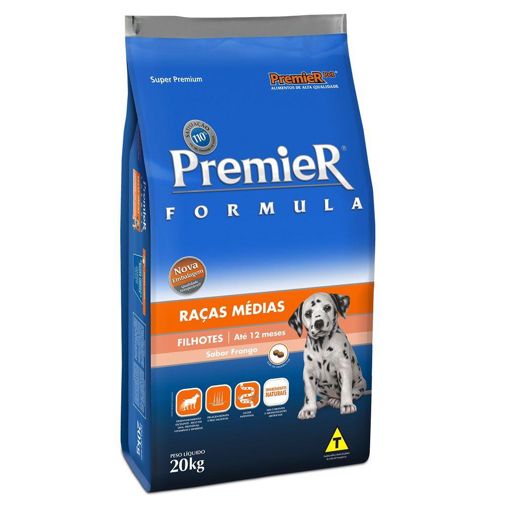 Ração Premier Fórmula para Cães Filhotes de Raças Médias Sabor Frango 20 Kg