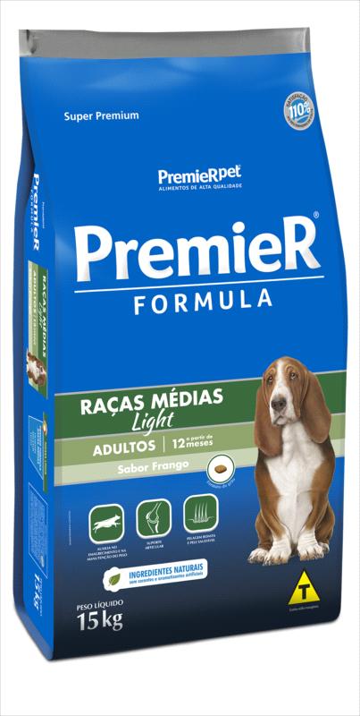 Ração Premier Fórmula Light para Cães Adultos de Raças Médias Sabor Frango 15 Kg