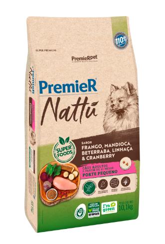 Ração Premier Nattu para Cães Adultos de Porte Pequeno Sabor Mandioca 10,1 Kg