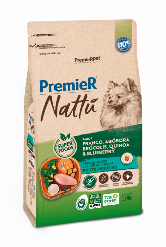 Ração Premier Nattu para Cães Adultos de Porte Pequeno Sabor Abóbora