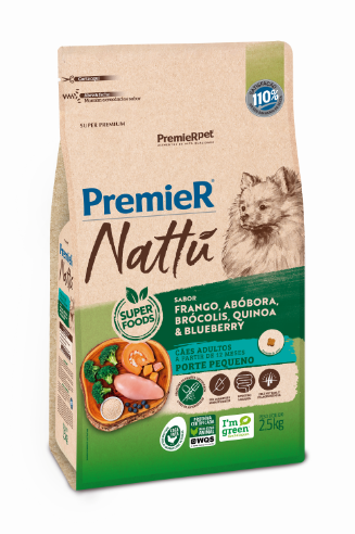 Ração Premier Nattu para Cães Adultos de Porte Pequeno Sabor Abóbora 2,5 Kg