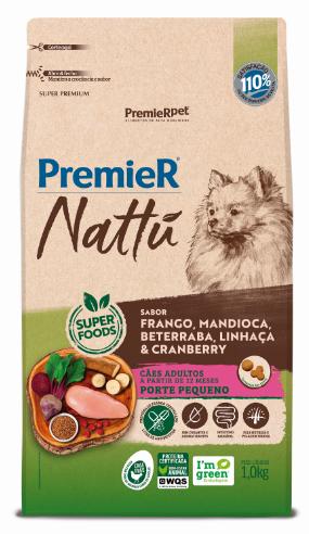 Ração Premier Nattu para Cães Adultos de Porte Pequeno Sabor Mandioca