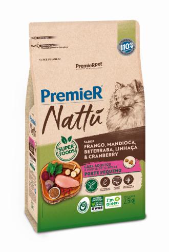 Ração Premier Nattu para Cães Adultos de Porte Pequeno Sabor Mandioca 2,5 Kg