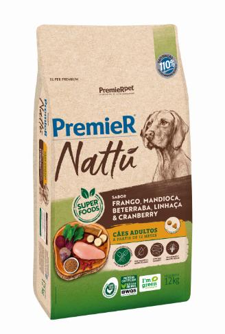 Ração Premier Nattu para Cães Adultos Sabor Mandioca 12 Kg