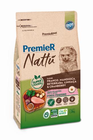 Ração Premier Nattu para Cães Filhotes de Porte Pequeno Sabor Mandioca