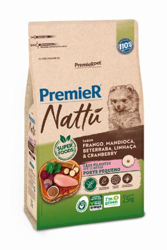 Ração Premier Nattu para Cães Filhotes de Porte Pequeno Sabor Mandioca 2,5 Kg