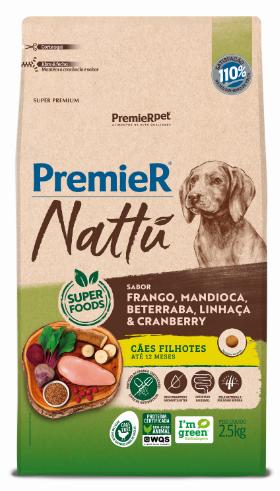 Ração Premier Nattu para Cães Filhotes Sabor Mandioca 2,5 Kg