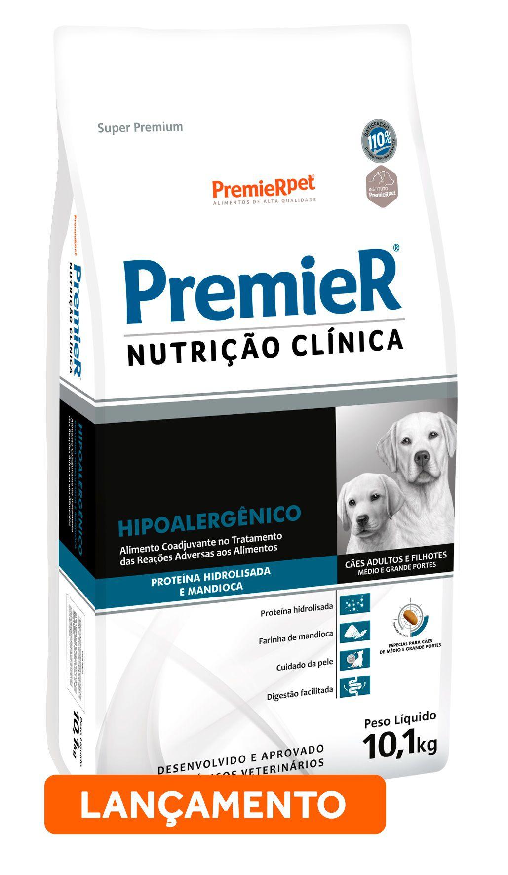 Ração Premier Nutrição Clínica Hipoalergênico para Cães de Médio e Grande Porte com Proteína Hidrolisada e Mandioca 10,1 Kg