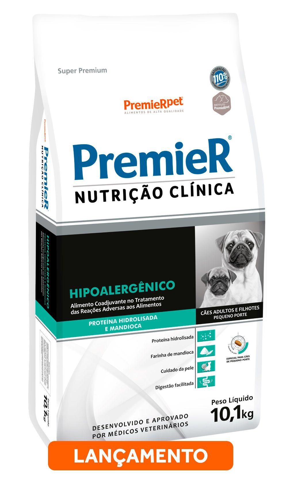 Ração Premier Nutrição Clínica Hipoalergênico para Cães de Pequeno Porte com Proteína Hidrolisada e Mandioca 10,1 Kg