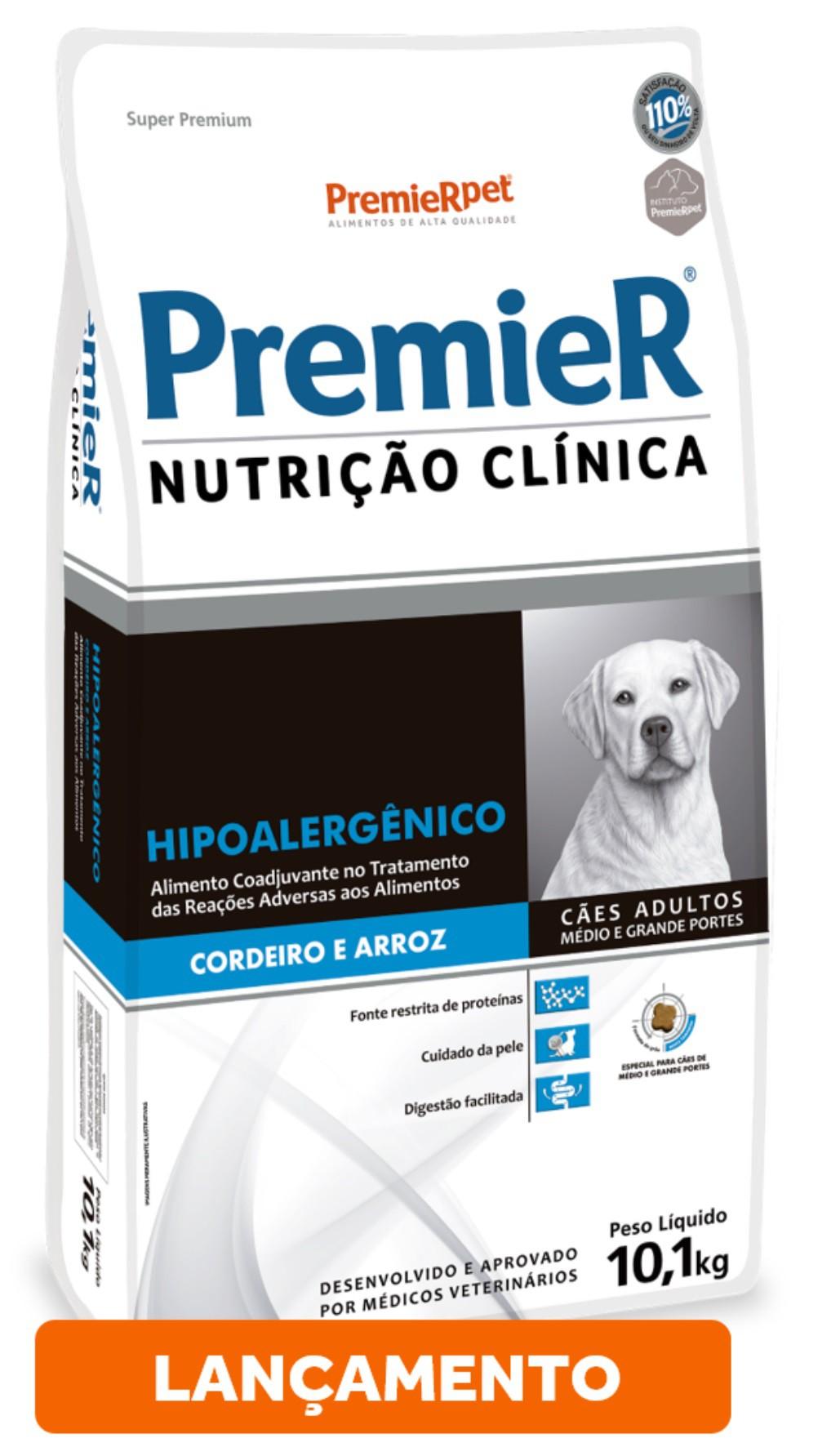 Ração Premier Nutrição Clínica Hipoalergênico para Cães de Médio e Grande Porte Sabor Cordeiro e Arroz 10,1 Kg