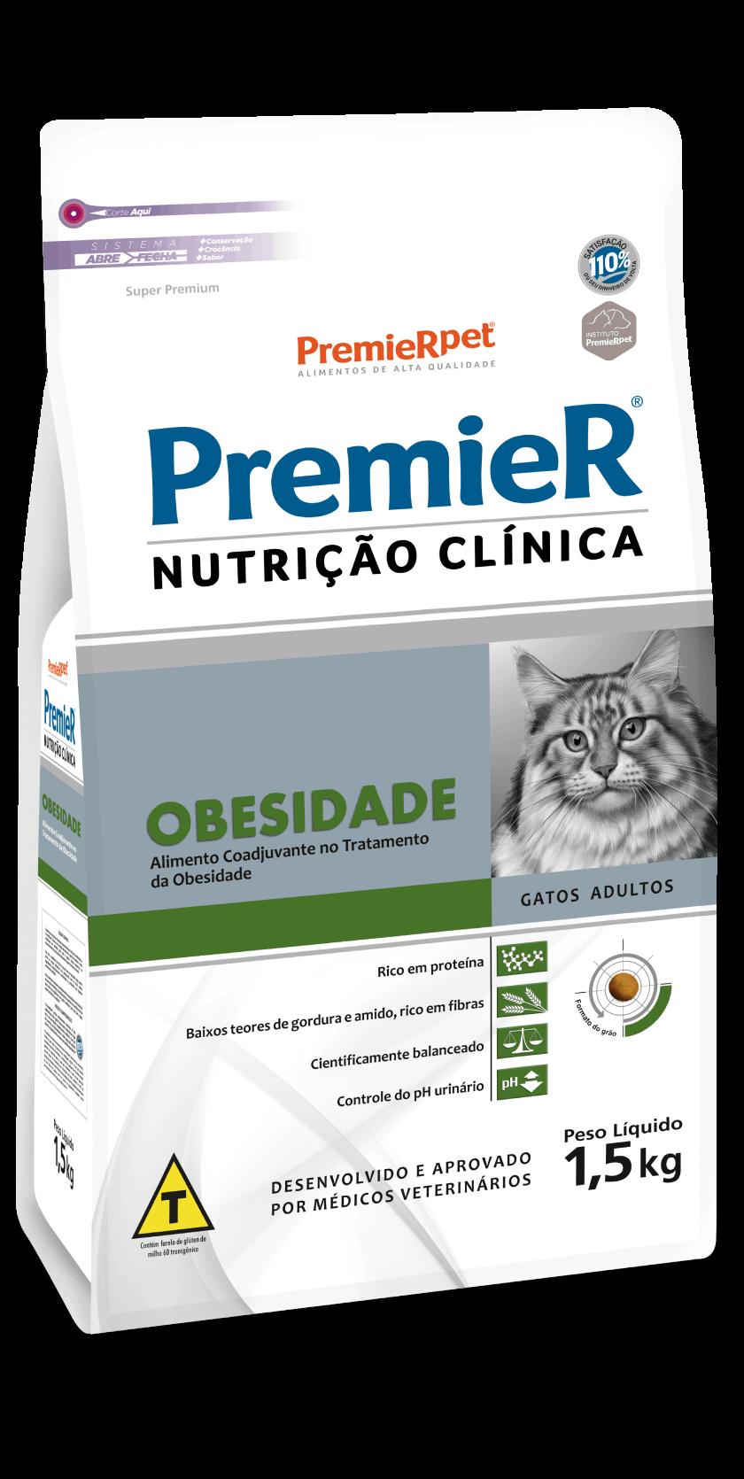Ração Premier Nutrição Clínica Obesidade para Gatos Adultos 1,5 Kg