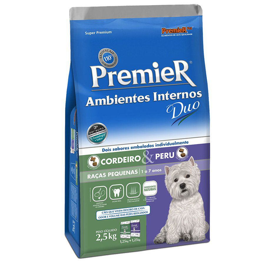 Ração Premier Ambientes Internos Duo para Cães Adultos de Raças Pequenas Sabores Cordeiro & Peru