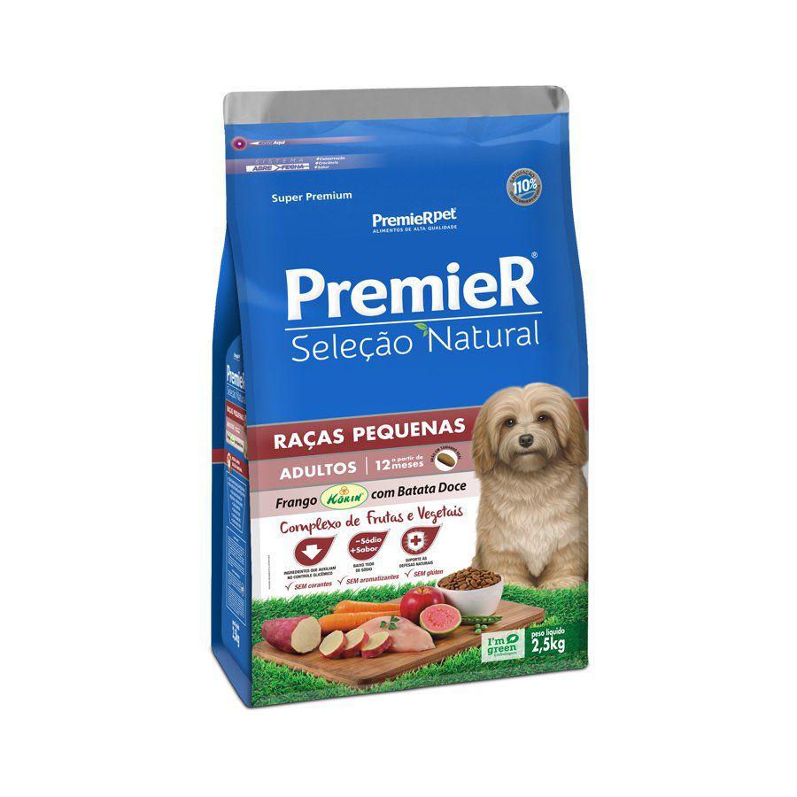 Ração Premier Seleção Natural para Cães Adultos de Raças Pequenas Sabor Frango Korin Com Batata Doce 2,5 Kg