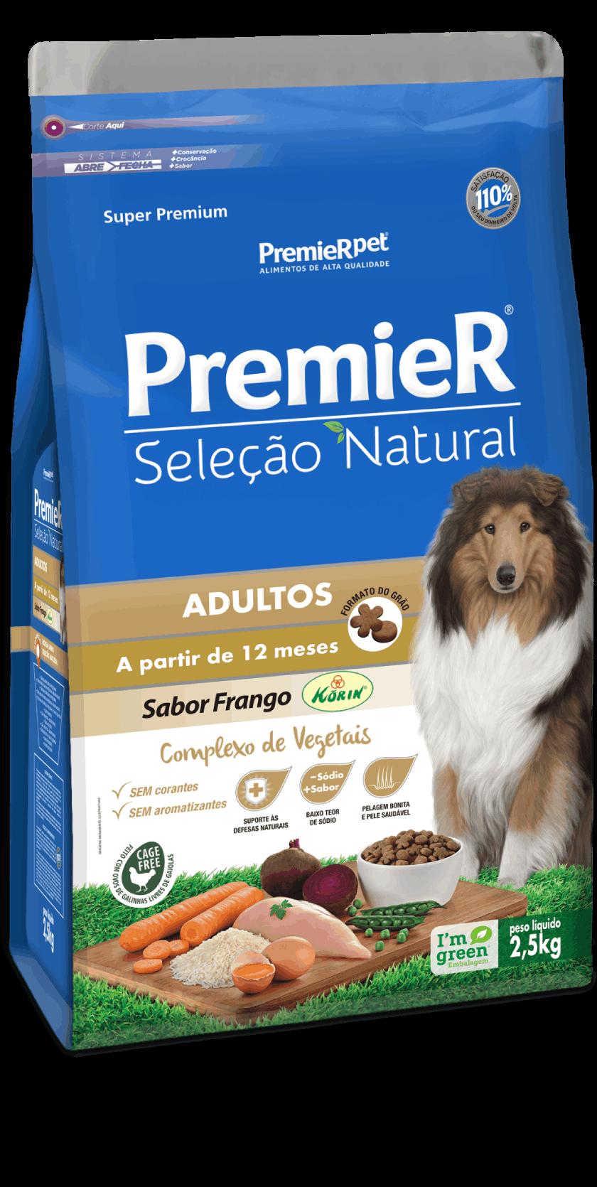 Ração Premier Seleção Natural para Cães Adultos Sabor Frango Korin