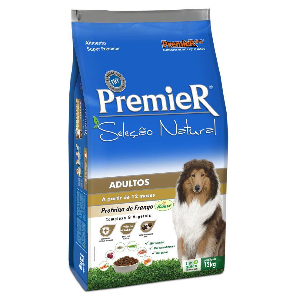 Ração Premier Seleção Natural para Cães Adultos Sabor Frango Korin 12KG