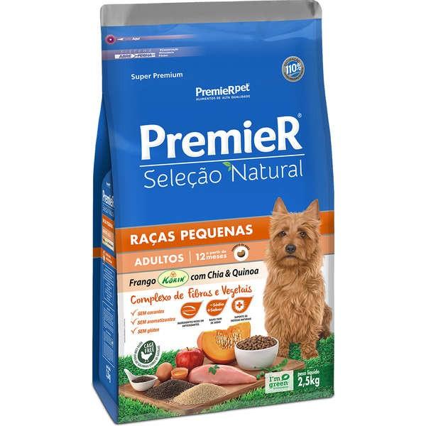 Ração Premier Seleção Natural para Cães Adultos de Raças Pequenas Sabor Frango Korin com Chia & Quinoa 2,5 Kg