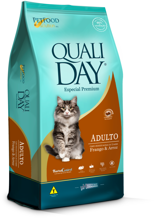 Ração Qualiday para Gatos Adultos Sabor Frango 3 Kg