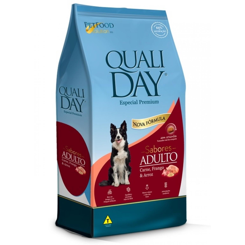 Ração Qualiday para Cães Adultos Sabores Carne, Frango e Arroz 15 Kg